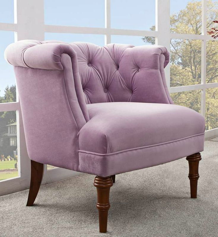 Lavender velvet tufted accent chair is rich with charm and style.