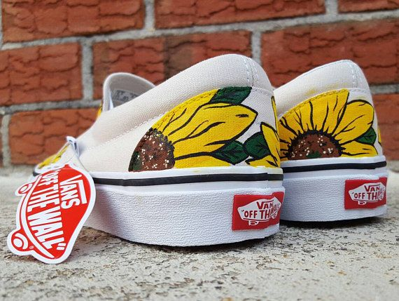 8150cbcb935 These are Vans Slip On shoes featuring hand-painted Sunflowers! Done free- hand