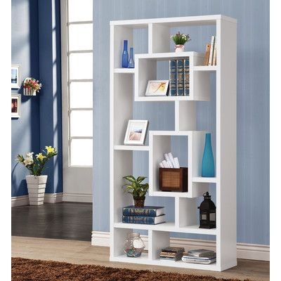 White Cube Bookcase from Wayfair This wall unit can be used to dress up any wall with the look of interlocking shelves, which provide storage and displays space in different sized compartments.