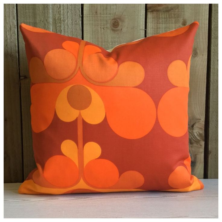"Genuine Original Vintage Retro Fabric Orange Cushion Cover 18"" x 18"" in Home, Furniture & DIY, Home Decor, Cushions 