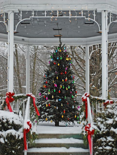 Christmas in viewing platform of Lake Bluff, Illinois