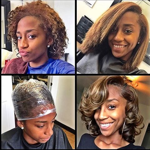 nice blow out and curls on natural hair