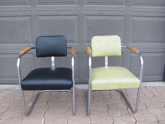 Pair Retro Chrome Armchairs Mid Century Modern Vinyl Arm Chair