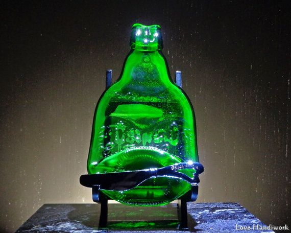 Grolsch Beer Slumped Bottle Soap Dish  Green by LoveHandyWork