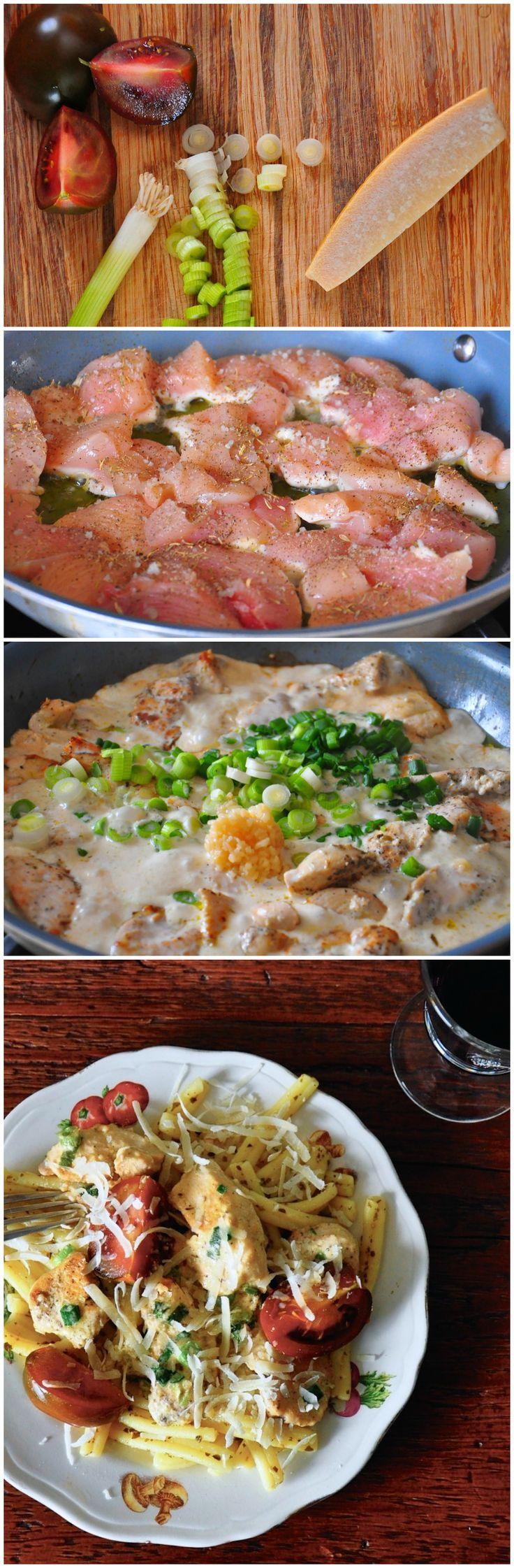 Creamy chicken pesto pasta  #chicken #pesto #easydinner