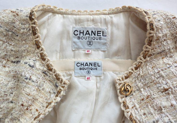 Vintage CHANEL Creme bouclé tweed gold bullion skirt suit at 1stdibs