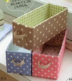 Recycle cereal box into small bin/organizer.  Reutilizar tetrapacks / tetra bricks y que queden monisimos!!