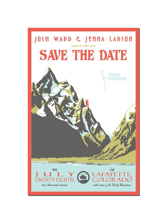 Vintage Mountain Save the Date Postcard  DEPOSIT by Orange81, $35.00
