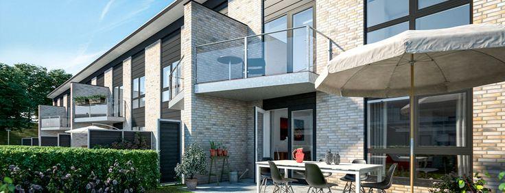 Fredensborg, Asminderødhave 2 plan - Lind og Risør. Nedrivningen af Asminderød Skole giver nu plads til et helt nyt attraktivt boligkvarter med både rækkehuse i 1 plan, rækkehuse i 2 fulde plan og villagrunde til opførelse af individuelle villaer.