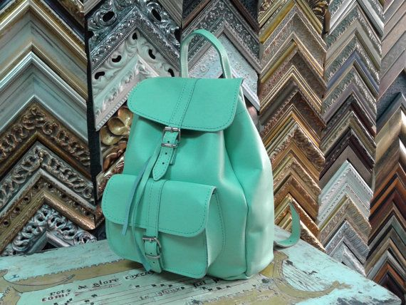Handmade Turquoise Leather Backpack Medium one by MagusLeather, €128.20