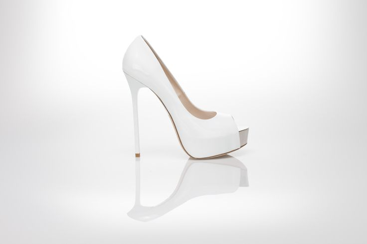 White  patent leather pump open toe decollete 130 mm high heels by Gianni Renzi Couture