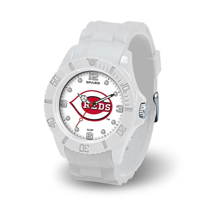 "Football Fan Shop MLB Team Logo ""Cloud Series"" Crystal-Accented White Silicone Strap Watch - Cincinnati Reds"