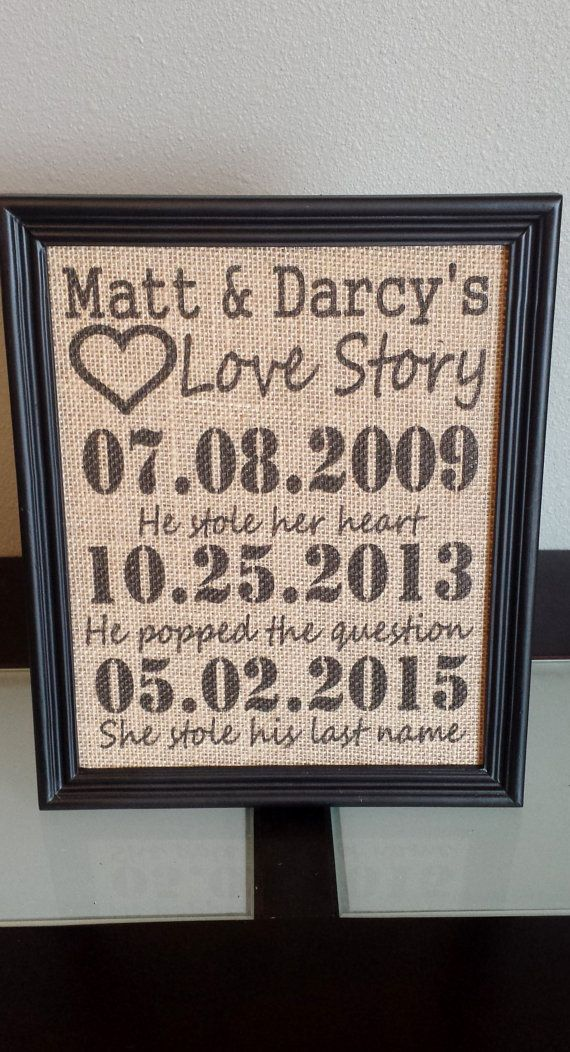 Framed Burlap Print Important Date Frame Our by DideschDelights