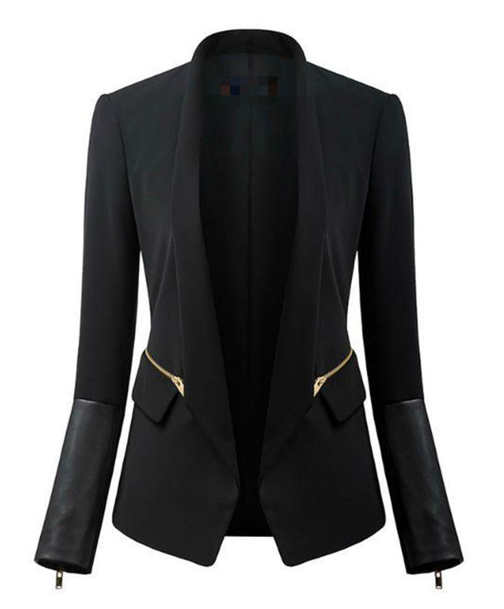 Drop Lapel Blazer, fitted jacket, fashion 2015,  classic items, basic wardrobe, leather sleeves, fashion 2015
