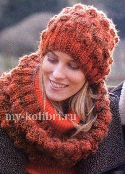 Вязание шапки спицами в комплекте со снудом: схема и описание на Колибри. Вещи получаются такими уютными и тёплыми, что их просто не хочется снимать.