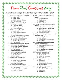 Printable Christmas Song Answers Christmas Song Trivia