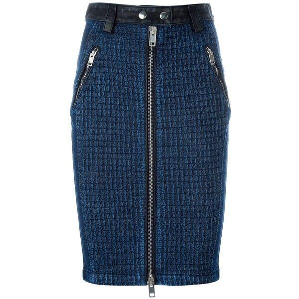 Diesel front zip denim skirt (€320) ❤ liked on Polyvore featuring skirts, blue, front zip skirt, denim skirt, knee length denim skirt, blue skirt and blue denim skirt