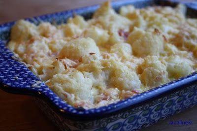 Bloemkoolquiche: 1 bloemkool peper en zout 4 eieren 200 ml slagroom of Crème Fraîche 1 ons ham (vleeswaren) in reepjes  75 gram geraspte kaas snuf nootmuskaat