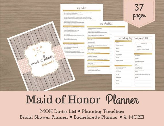 Maid of Honor Planner / Bridal Shower Planner / Bachelorette Bash Planner / Maid of Honor Checklist / Wedding Planner