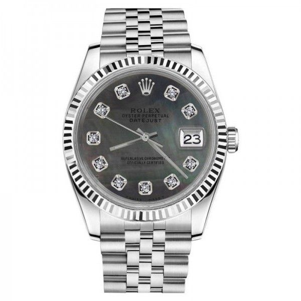 Pre-owned Rolex Datejust Black MOP Mother Of Pearl Dial with Diamonds... ($4,499) ❤ liked on Polyvore featuring jewelry, watches, rolex jewelry, pre owned jewelry, dial watches, diamond watches and leather-strap watches