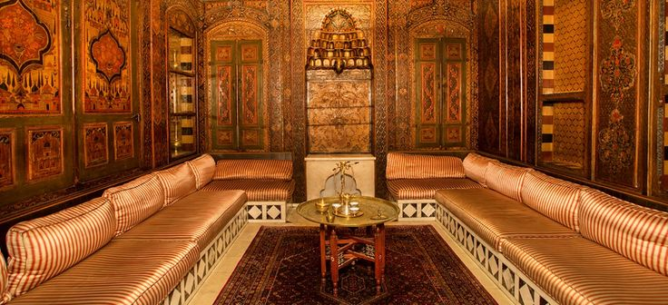 The Syria-Lebanon room was the library in an 18th-century home in Damascus, moved piece by piece and reconstructed in Pittsburgh. Its mihrab — the carved prayer niche — originally faced Mecca. (the University of Pittsburgh, USA)