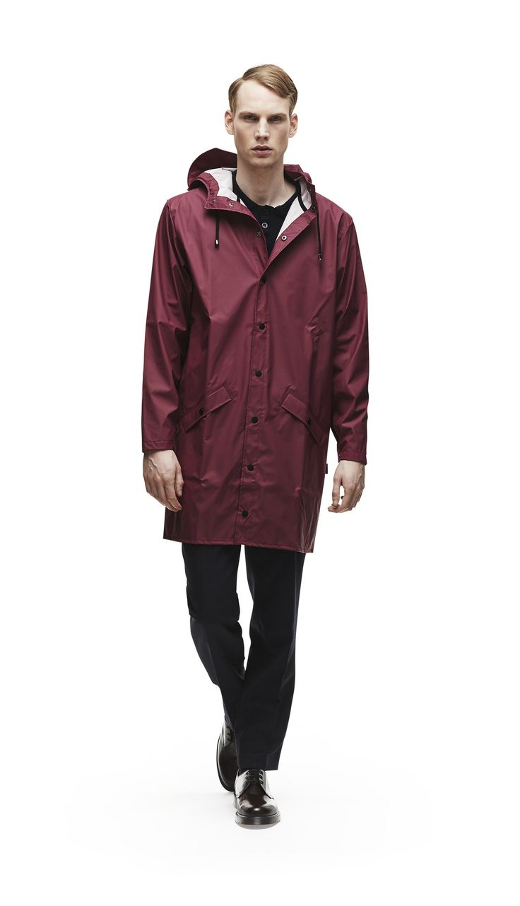 Long Jacket - Bordeaux | RAINS | Modern design rainwear and bags
