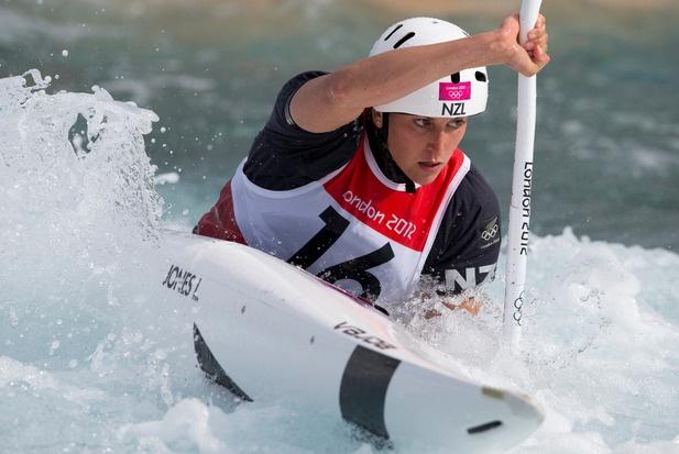 New Zealand Luuka Jones in action during her 2nd run in the Heats of the Canoe Slalom, Kayak Single ( K1 ) Women. Photo / Brett Phibbs.