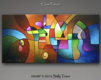 Abstract Painting texture Painting geometric by SallyTraceFineArt Mais