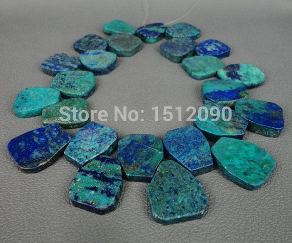 Large Natural Lapis Chrysocolla Slab Beads Pendants,Top Drilled Rock Lapis Slice Beads Necklace Jewelry 22-26x25-28mm