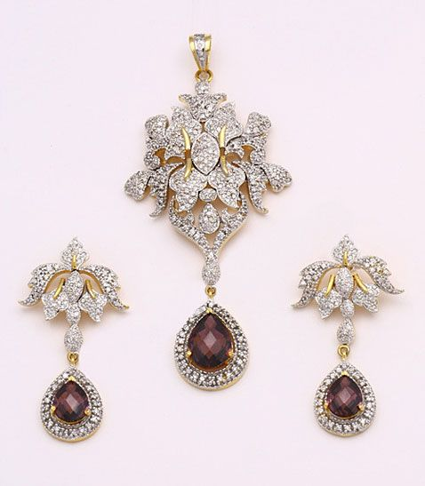 Wine and Off White American Diamond Studded Pendant Set Online Shopping: JWR6786