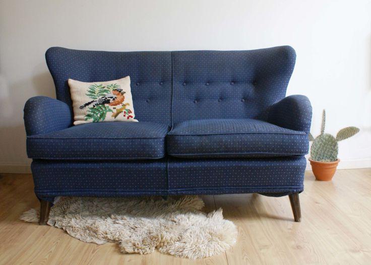 Blauwe vintage bank, Theo Ruth voor Artifort? Prachtige jaren 50 sofa met  retro design
