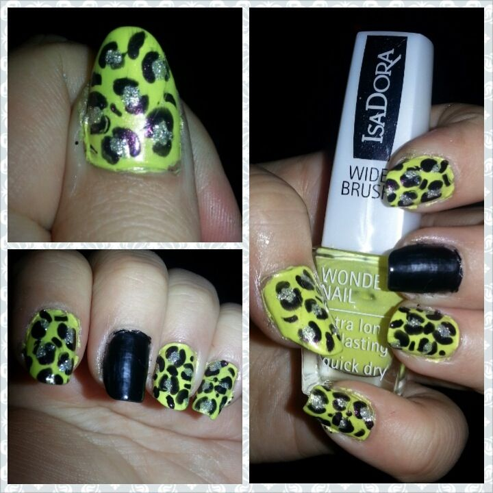 Green leopard nail art