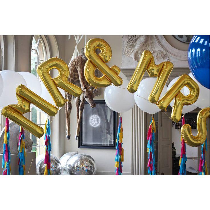 mr and mrs jumbo metallic letters by bubblegum balloons | notonthehighstreet.com
