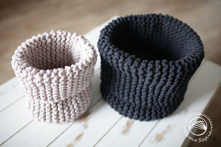 koszyki robione na drutach | knitted baskets