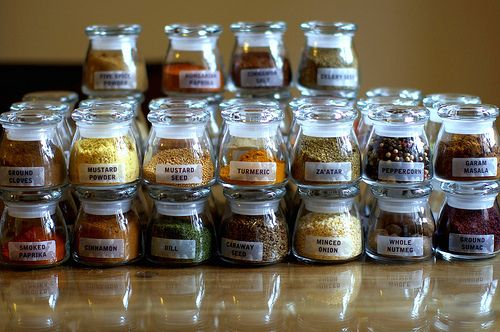 what a great way to organize spices. the jars are made by libbey and you can get them on amazon. the labels are just clear avery return address labels. so neat.