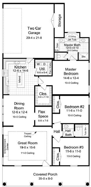 Design Connection, LLC - House Plans & House Designs - Plan detail - 1 story, narrow lot house plan