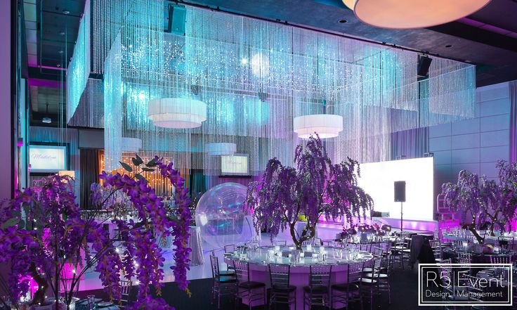 Incredible Blue and Purple Lighting for our Avatar Enchanted Garden Bat Mitzvah! By R5 Event Design