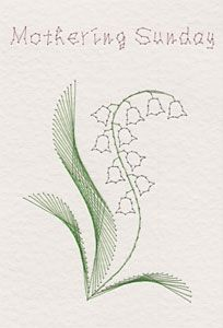 A pattern featuring a Lily of the Valley with the greeting 'Mothering Sunday' and alternative greeting 'Happy Mother's Day' has been added to the Stitching Cards colle…