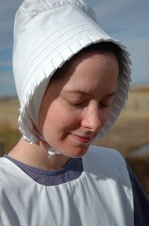 Quaker Bonnet.  The self sustained life something I wish I could get back to. An off grid farm with garden and chickens for eggs and cows for milk. Sigh. LD.