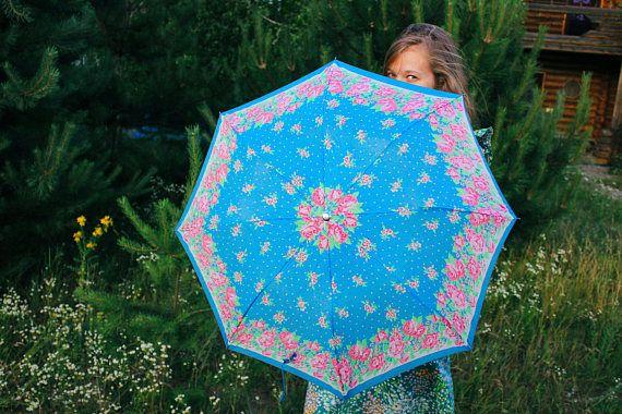 Soviet Floral Umbrella / Light Blue Polka Dot Rose Garden