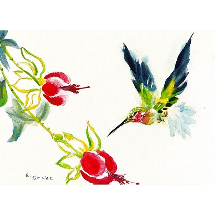 Betsy Drake Garden Hummingbird Machine-made Polyester Door Mat (30x50), Multi