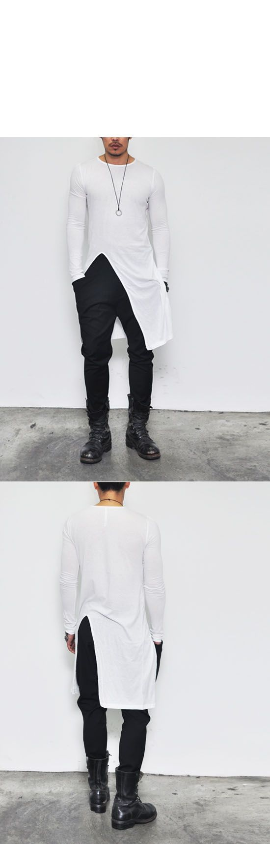 Tops :: Tees :: Avant-garde Edge Unbalance Long-Tee 138 - Mens Fashion Clothing For An Attractive Guy Look