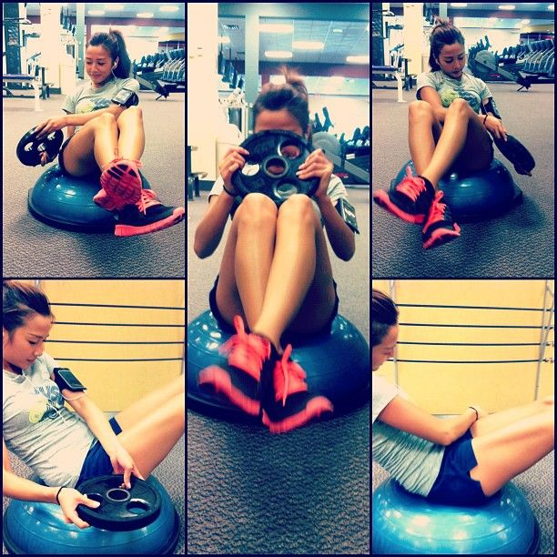 Russian Twist on bosu ball. Great oblique workout & helps get rid of your love handles. Twist your upper half of your body & try keeping your feet off the ground.