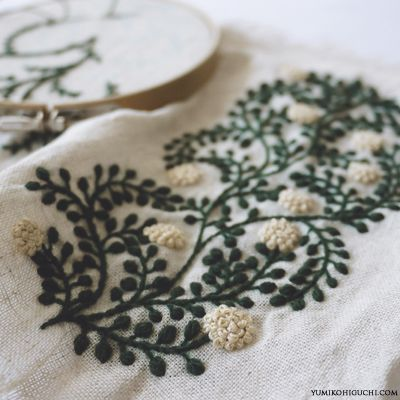 embroidery by yumiko higuchi, green vines