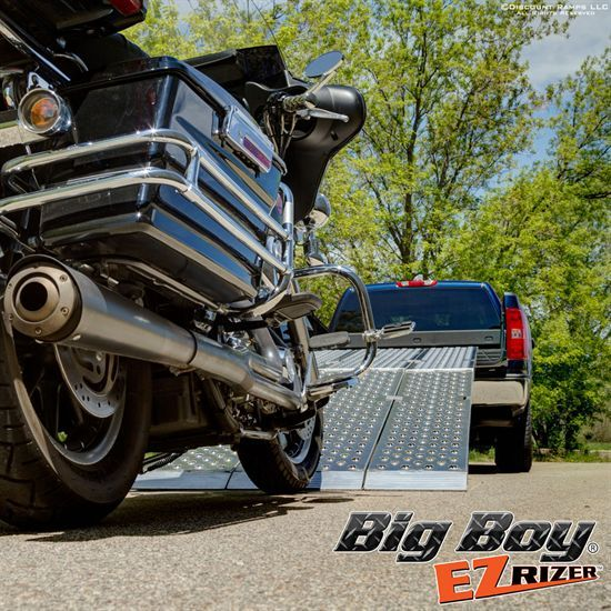 Introducing the NEW Big Boy EZ Rizer™ 3-Piece Folding Aluminum Motorcycle Ramp System from Discount Ramps, the widest motorcycle ramp on the market! Featuring EZ Traction, the latest in plate surface engineering, for superior grip and worry-free loading. Special introductory price!