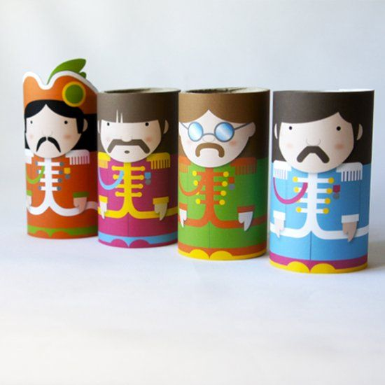 The Beatles with toilet paper roll. Enrolla-t project. Free printable. (in Spanish & Catalan)