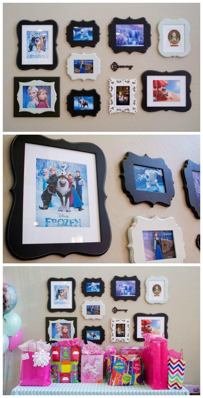 Adorable DIY Gallery Wall - Disney Frozen Birthday Party Ideas