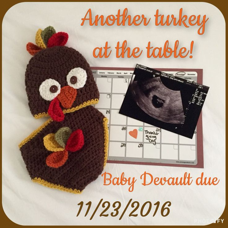 Thanksgiving baby pregnancy announcement. Handmade crocheted turkey gear by @swflsweetie
