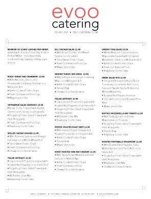 Box Lunch Menu Template | Customize Boxed Lunch Catering Menu