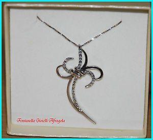 Collana e croce in argento 925 rodiata ciondolo crocetta stilizzata con zirconi